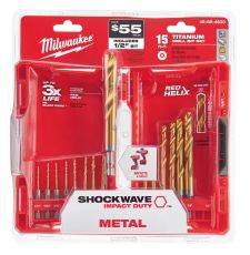 Milwaukee® SHOCKWAVE™ RED HELIX™ 48-89-4630 Impact Duty Drill Bit Kit, 15 Pieces, For Use With All Drill, HSS, Titanium Coated