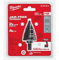 Milwaukee® 48-89-9212 Step Drill Bit, 7/8 in Dia Min Hole, 1-3/8 in Dia Max Hole, 5 Steps, HSS, 4 Hole Sizes, 3/8 in Shank