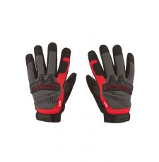 Milwaukee® 48-22-8732 Demolition General Purpose Work Gloves, Fingerless, Knuckle Guard Style, L, Leather Palm, Leather/Single Hem, Black/Red, Breathable Lining