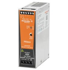 Weidmuller 1469580000 Pro Eco DC Power Supply, 100 to 240 VAC Input, 24 VDC Output, 120 W Power Rating, 10 A, DIN Rail Mount