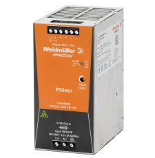 Weidmuller 1469490000 Pro Eco DC Power Supply, 85 to 264 VAC Input, 24 VDC Output, 240 W Power Rating, 10 A, DIN Rail Mount