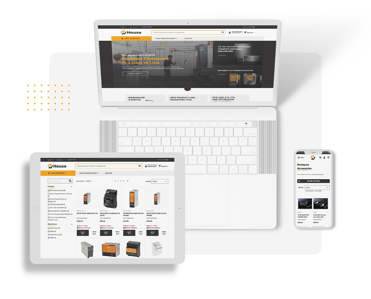 House ecommerce platform integrated into a laptop